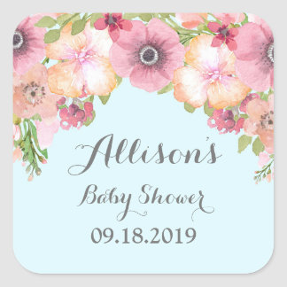 Light Blue Pastel Pink Floral Baby Shower Tag Square Sticker
