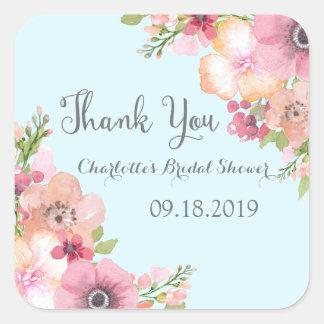 Light Blue Pastel Pink Floral Bridal Shower Square Sticker