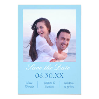 Light Blue Photo Vertical - 3x5 Save the Date Card