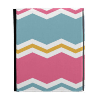 Light Blue Pink and Gold Chevron Stripes iPad Folio Cover