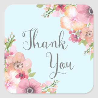 Light Blue Pink Floral Rustic Thank You Favor Tags Square Sticker
