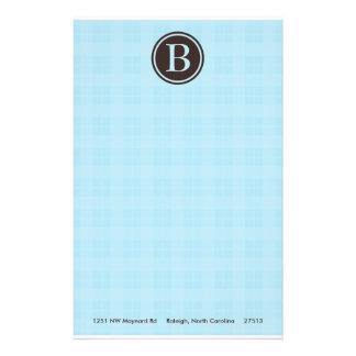 Light Blue Plaid Monogram Stationary Stationery