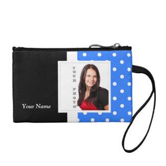 Light blue polka dot photo template coin purse