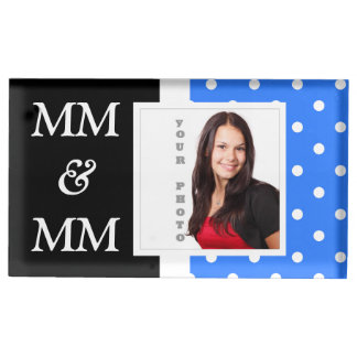 Light blue polka dot photo template place card holder