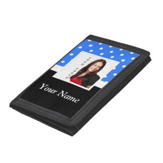 Light blue polka dot photo template tri-fold wallet