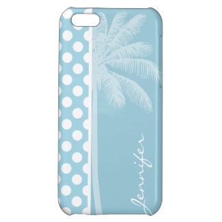 Light Blue Polka Dots; Palm iPhone 5C Case