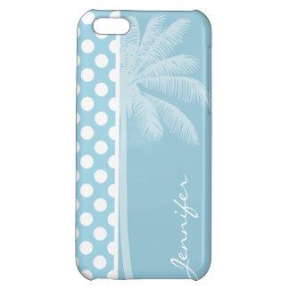 Light Blue Polka Dots; Palm iPhone 5C Case