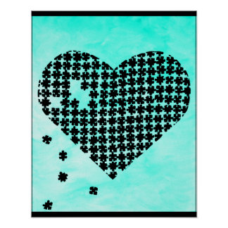 Light Blue Puzzle Heart Poster
