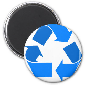 light blue recycle 6 cm round magnet