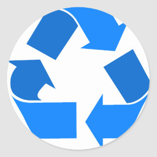 light blue recycle round sticker