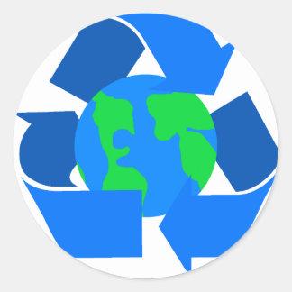 light blue recycle round sticker