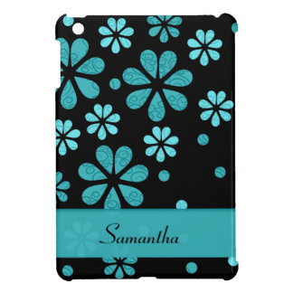 Light Blue Retro Flowers On Black iPad Mini Cover