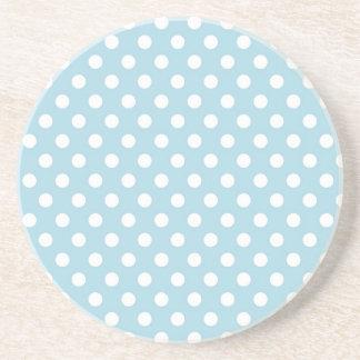 Light Blue Retro Polka Dots Pattern Coaster