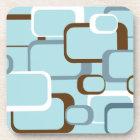 Light Blue Retro Squares Cork Coaster
