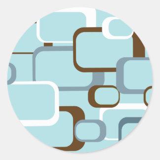 light blue retro squares round stickers