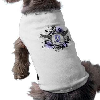 Light Blue Ribbon And Wings Thyroid Disease Dog T Shirt