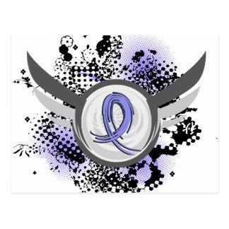 Light Blue Ribbon And Wings Thyroid Disease Postcard