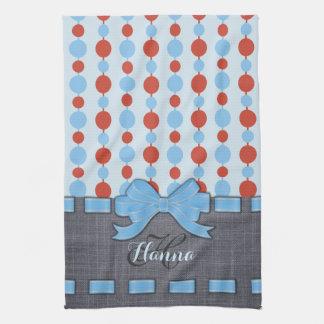 Light Blue Ribbon, Retro Dots Pattern Monogram Tea Towel