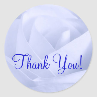 Light Blue Rose, Thank You! Round Sticker