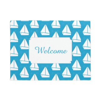 Light Blue Sailboat Pattern | Add Your Text Doormat