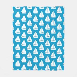 Light Blue Sailboat Pattern Fleece Blanket