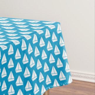 Light Blue Sailboat Pattern Tablecloth