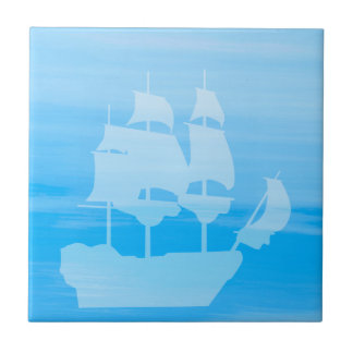 Light blue sea water with a sailboat tile