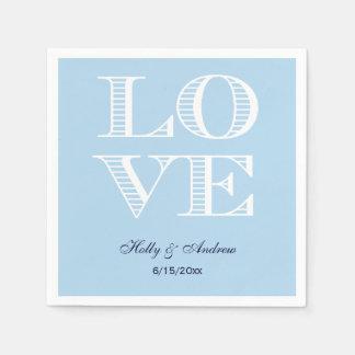 Light Blue / Sky Blue White LOVE 2 Napkins Disposable Napkin