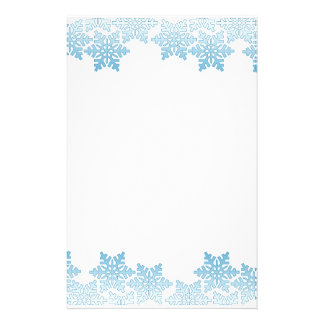 Light Blue Snowflake Border Stationery