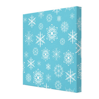 Light Blue Snowflake Christmas Design Canvas Print