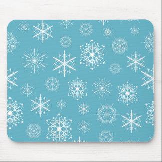 Light Blue Snowflake Christmas Design Mouse Pads