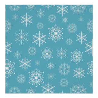 Light Blue Snowflake Christmas Design Posters