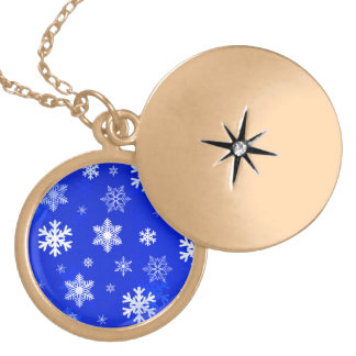 Light Blue Snowflakes Locket