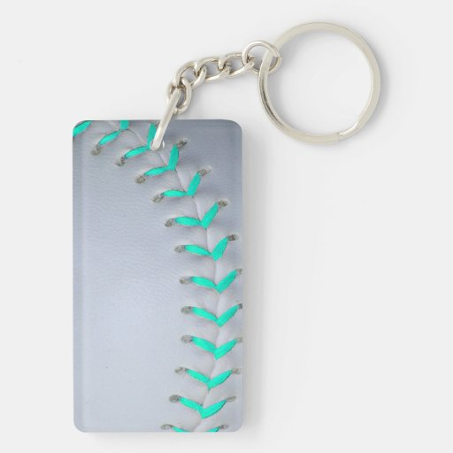 Light Blue Softball / Baseball Rectangle Acrylic Key Chain