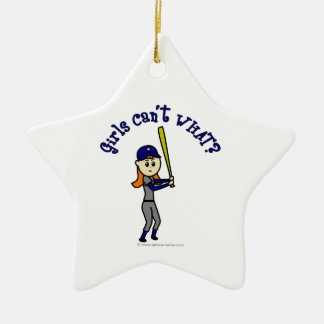 Light Blue Softball Christmas Ornament