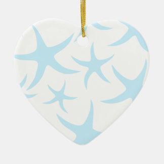 Light Blue Starfish Pattern. Ceramic Heart Decoration