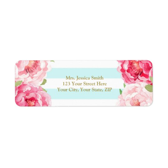 Light Blue Stripe Pink Floral Return Address Label