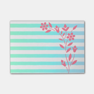 Light Blue Striped Floral Post-it Notes