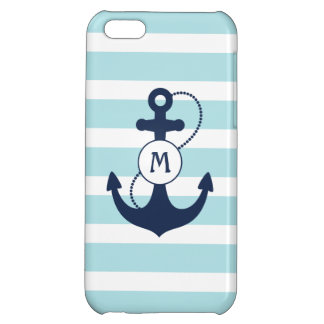 Light Blue Stripes with Anchor and Monogram Case For iPhone 5C