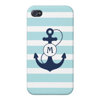 Light Blue Stripes with Anchor and Monogram Cover For iPhone 4