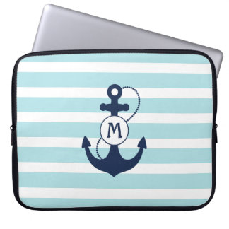 Light Blue Stripes with Anchor and Monogram Laptop Sleeve