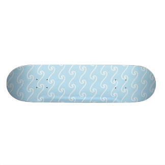 Light Blue Swirls Waves Nautical Beach Print Skate Decks