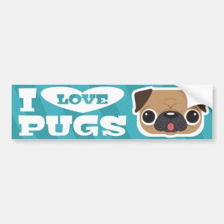 Light Blue Teal I LOVE PUGS bumpersticker Bumper Sticker