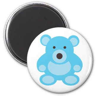 Light Blue Teddy Bear 6 Cm Round Magnet