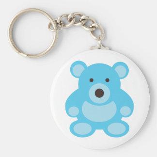 Light Blue Teddy Bear Basic Round Button Key Ring