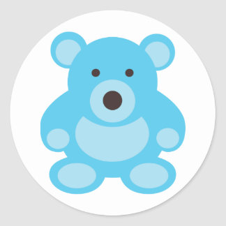 Light Blue Teddy Bear Classic Round Sticker