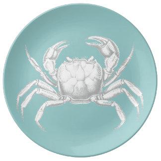 Light blue vintage crab design porcelain plate