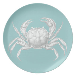 Light blue vintage crab plate