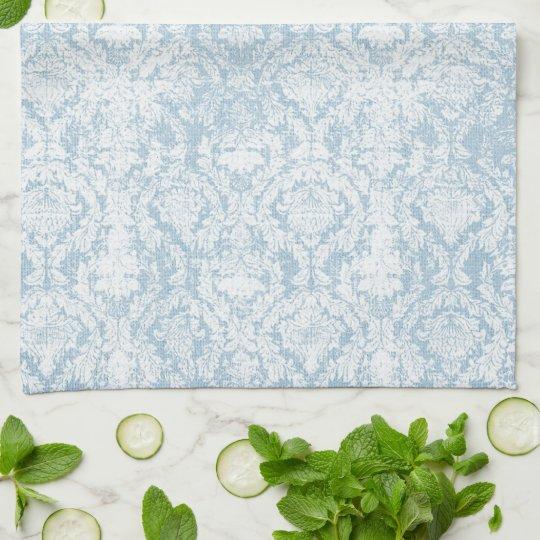light blue vintage damask pattern tea towel