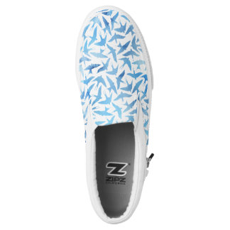 Light Blue Watercolor Birds Pattern Slip-On Shoes